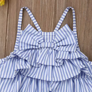 Load image into Gallery viewer, Ruffle Bow Romper // Blue Stripe