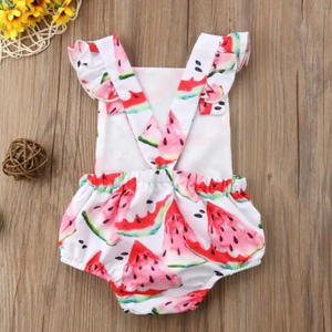 Criss Cross Back Ruffle Romper // Watermelon