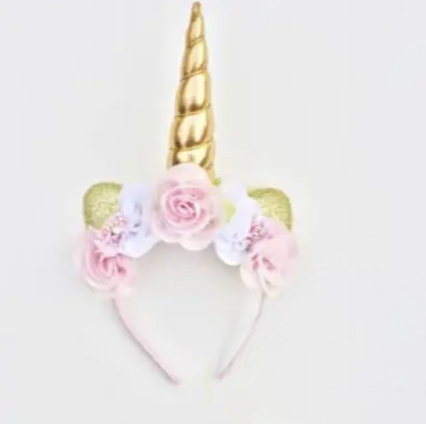 Large Unicorn Headband // Pink & White