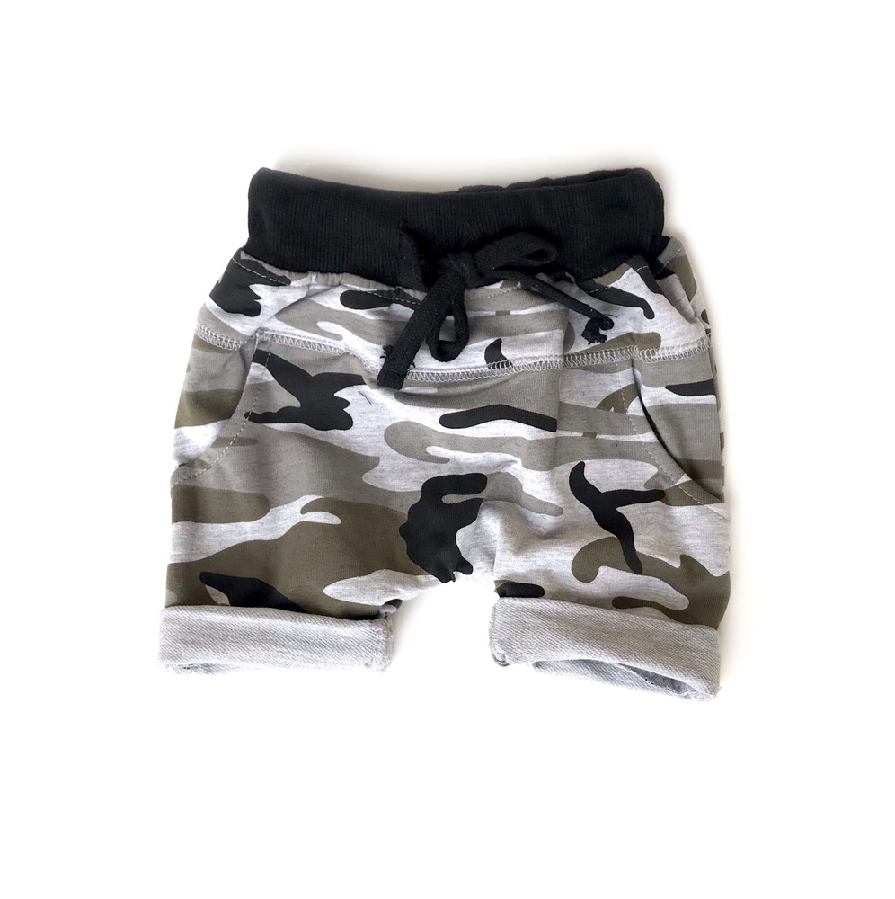 Rolled Harem Shorts // Camo