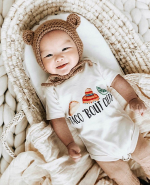 "Load image into Gallery viewer, ""Taco 'Bout Cute"" Organic Onesie or Tee // Cream"