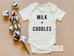"""Milk + Cuddles"" Organic Onesie or Tee // Cream"