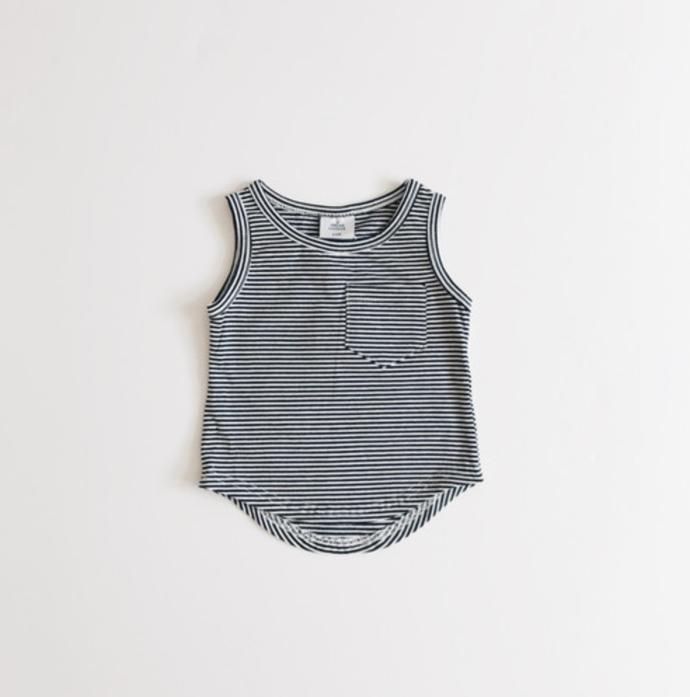 Pocket Tank Top // Black & White Stripes