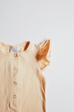 Load image into Gallery viewer, Flutter Sleeve Henley Romper // Peach // SIZE 18-24