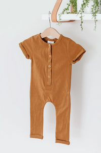 Short Sleeve Henley Romper // Butterscotch