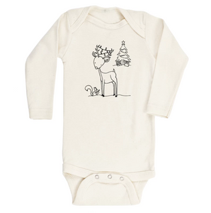 Christmas Reindeer Long Sleeve Bodysuit // Cream