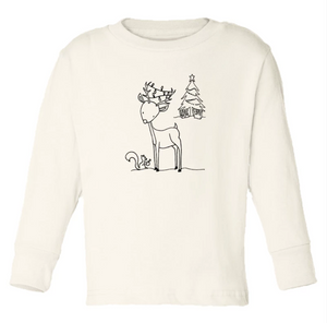Christmas Reindeer Long Sleeve Tee // Cream