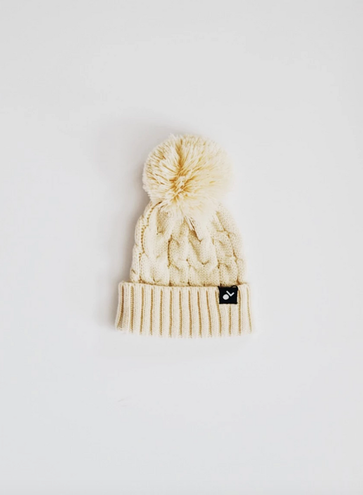 Load image into Gallery viewer, Cable Knit Pom Beanie // Cream