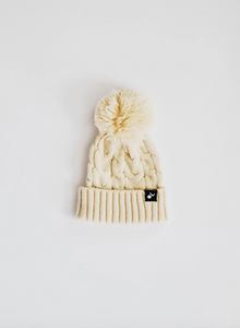 Cable Knit Pom Beanie // Cream