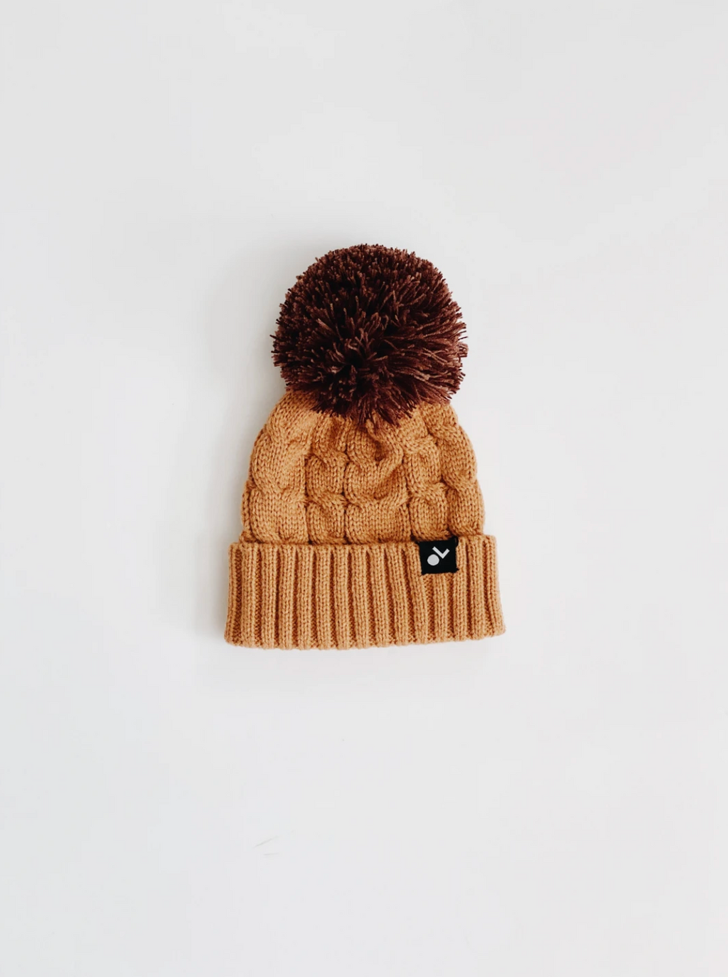 Cable Knit Pom Beanie // Copper