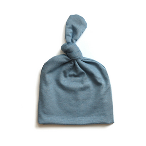 Top Knot Baby Hat // Steel Blue (0-3 months)
