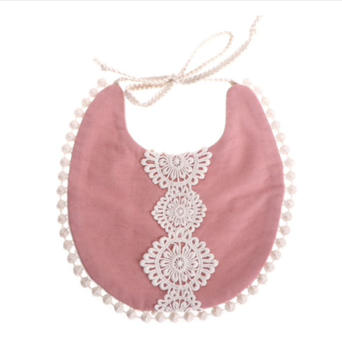 Bib with Lace Details // Rose Dust