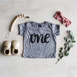 "Load image into Gallery viewer, ""One"" Baby Tee // Grey // 6-12 Month"