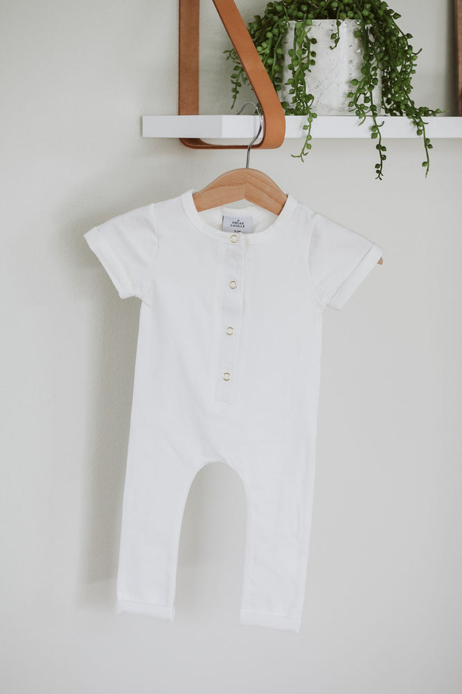 Load image into Gallery viewer, Short Sleeve Henley Romper // Milk