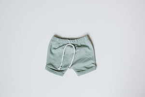 Load image into Gallery viewer, Curved Hem Harem Shorts //  Seafoam