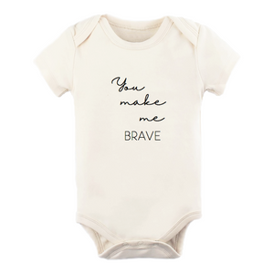 """You Make Me Brave"" Short Sleeve Bodysuit // Cream"