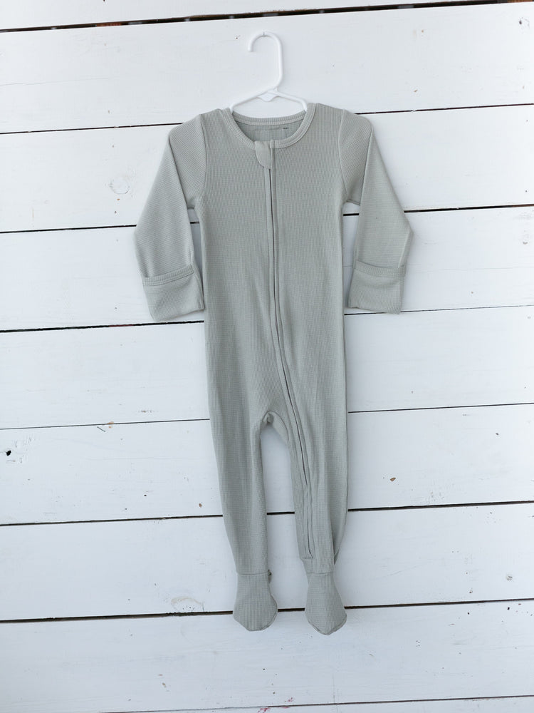 Organic Thermal Zip Footie // Silver