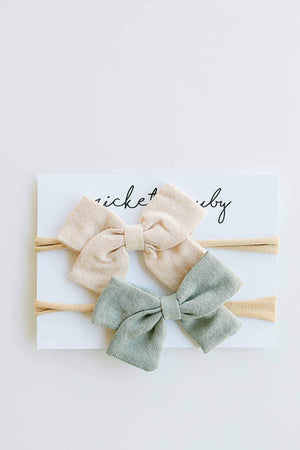 Load image into Gallery viewer, 2 Pack Linen Bow Headband // Sage + Tan