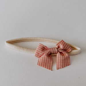 Load image into Gallery viewer, Plaid Bow Headband // Rose & Cream