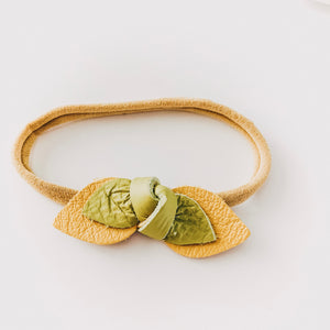 Load image into Gallery viewer, Leather Knot Headband // Yellow + Green