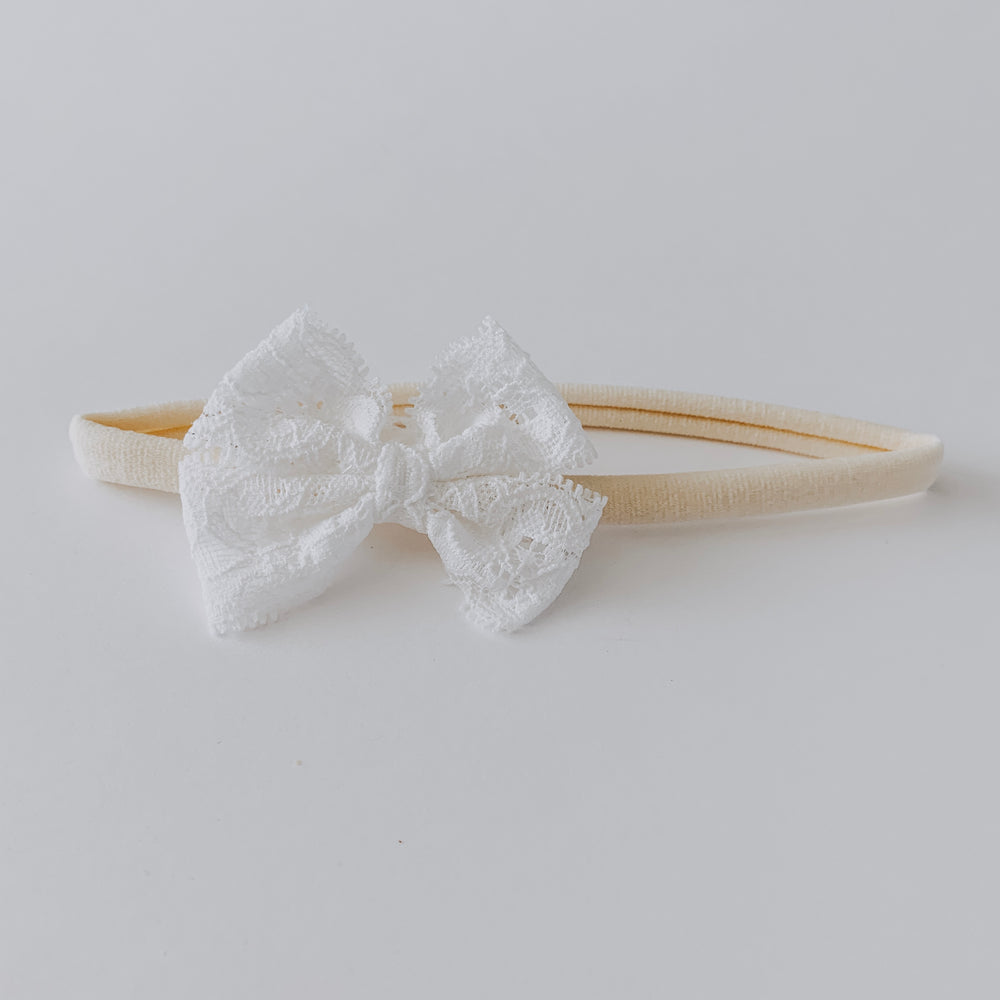 Lace Bow Headband // White