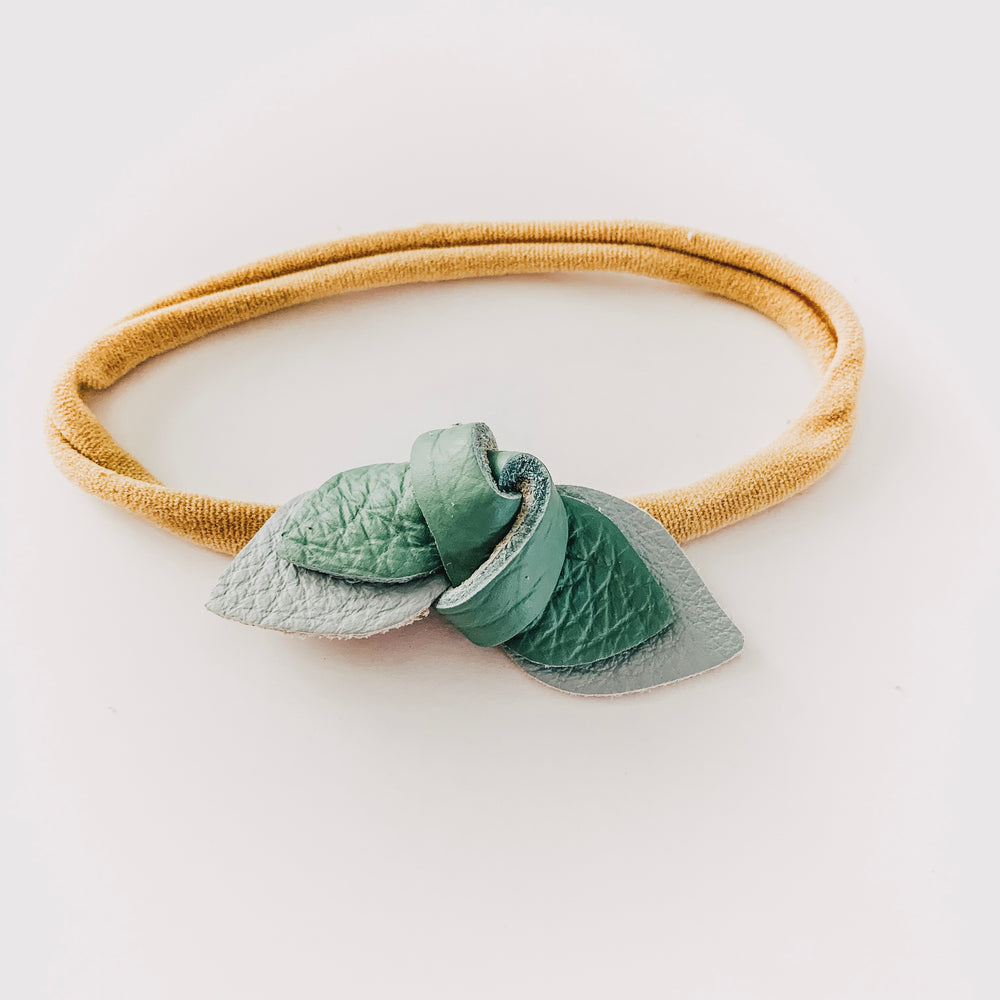 Load image into Gallery viewer, Leather Knot Headband // Sky + Eucalyptus