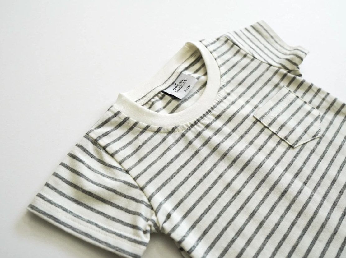 Curved Hem Pocket Tee // Grey Stripe