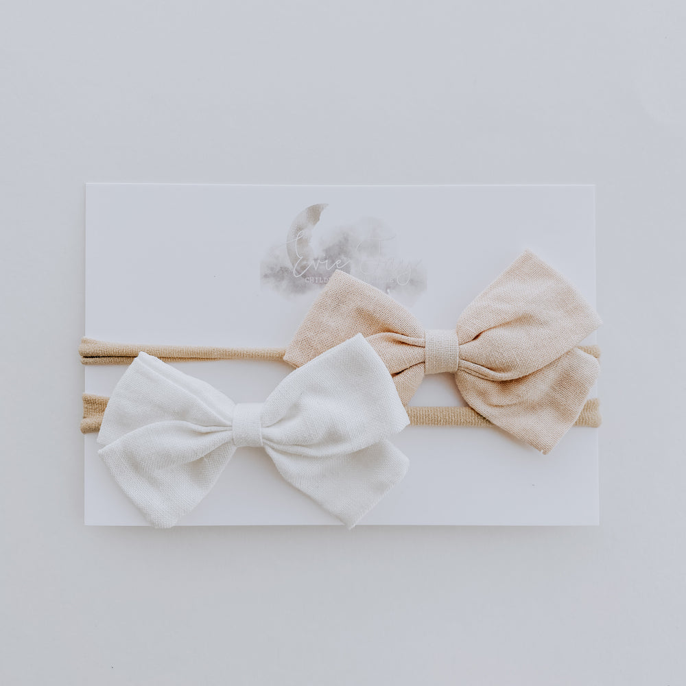 2 Pack Linen Bow Headband // Tan + White