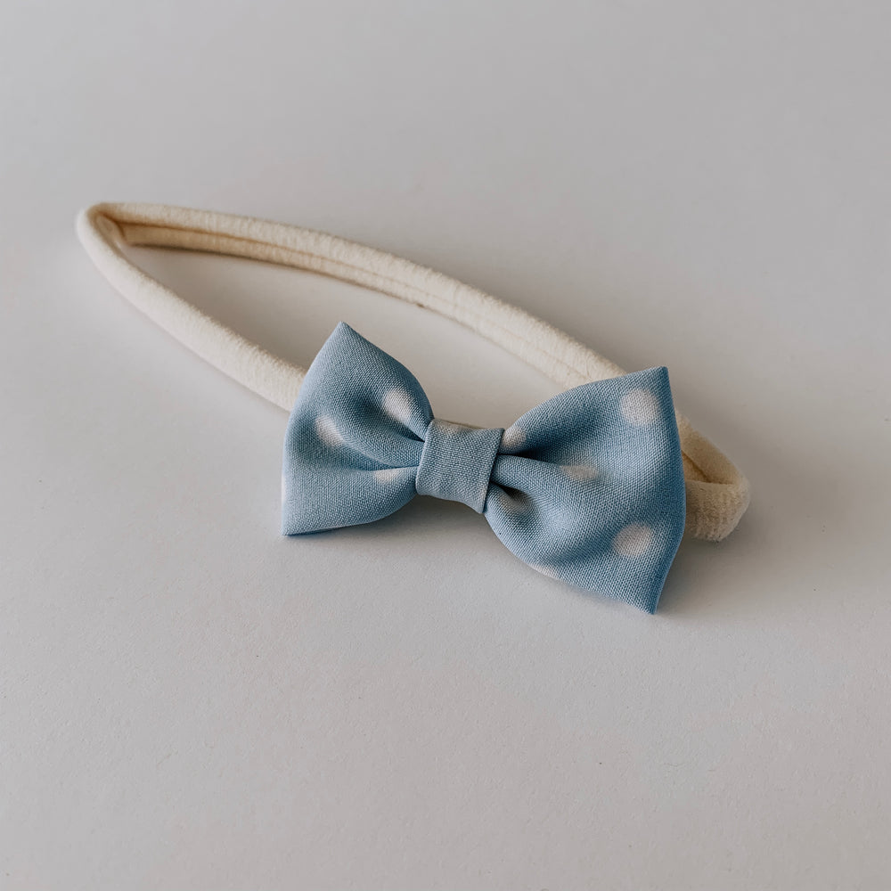 Load image into Gallery viewer, Polka Dot Bow Headband // Sky & White