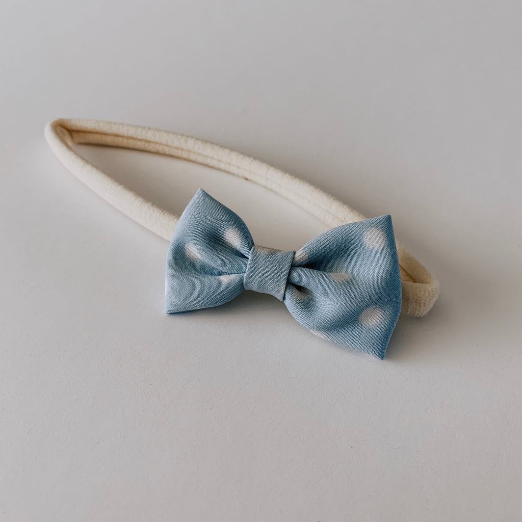 Polka Dot Bow Headband // Sky & White