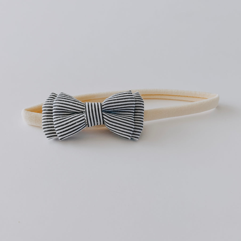 Stripe Bow Headband // White & Grey