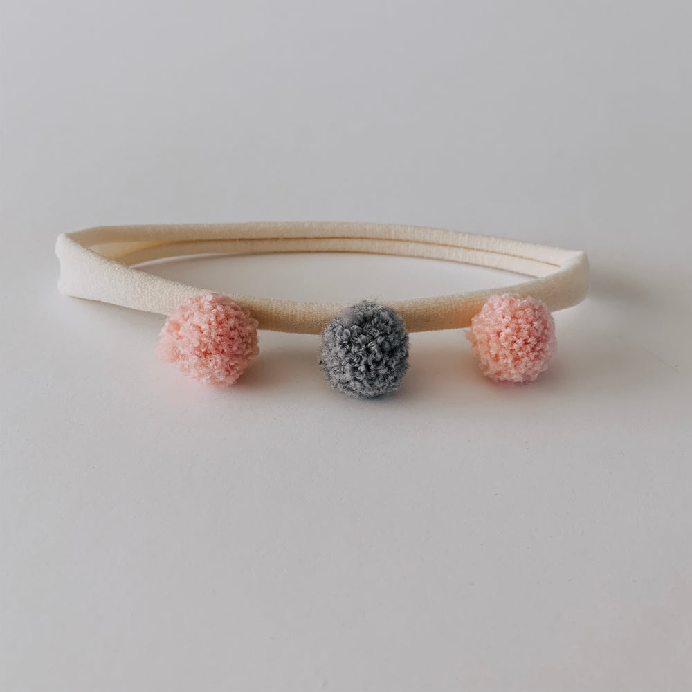 Pom Pom Headband // Rose & Grey