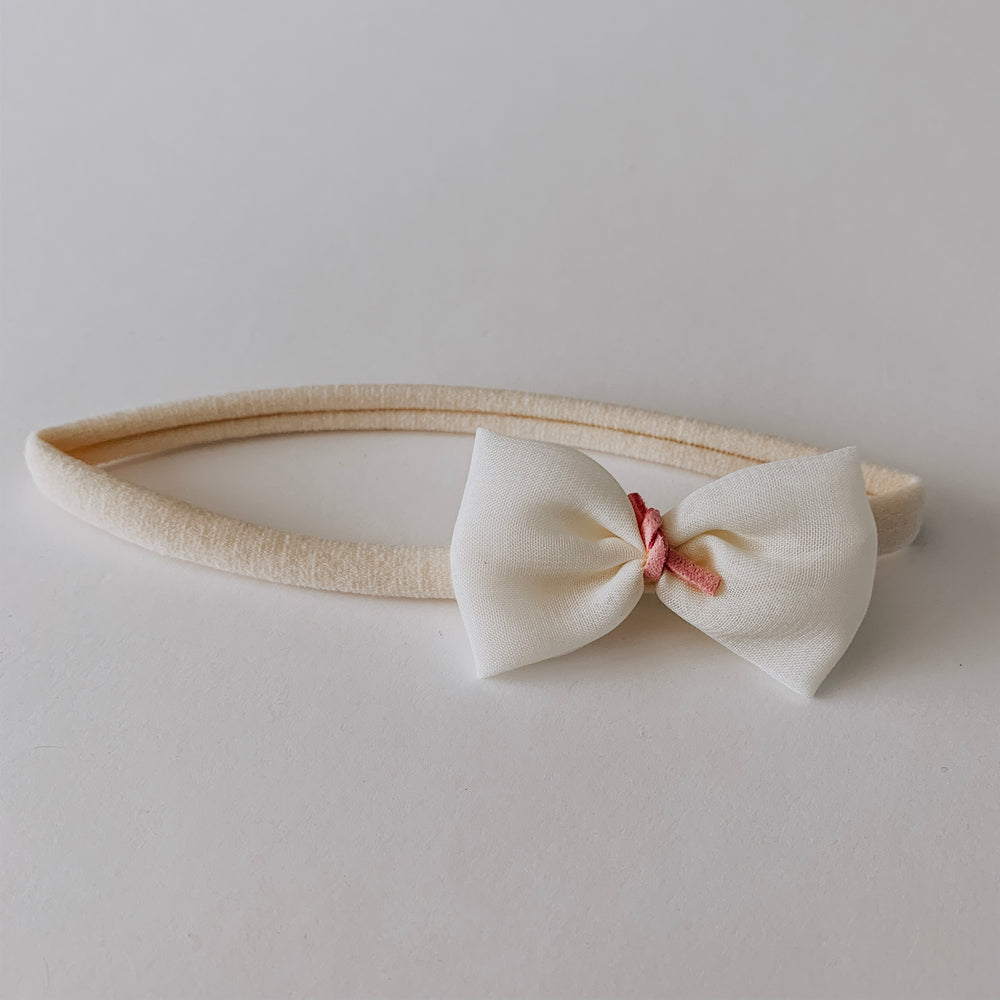 Load image into Gallery viewer, Leather Tied Chiffon Bow Headband // Cream & Rose