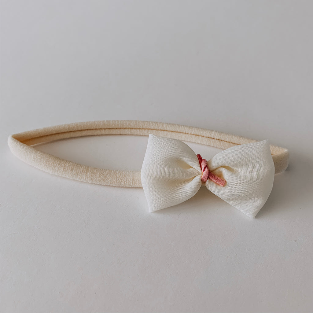 Leather Tied Chiffon Bow Headband // Cream & Rose