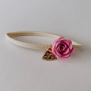 Flower Headband // Pink & Gold