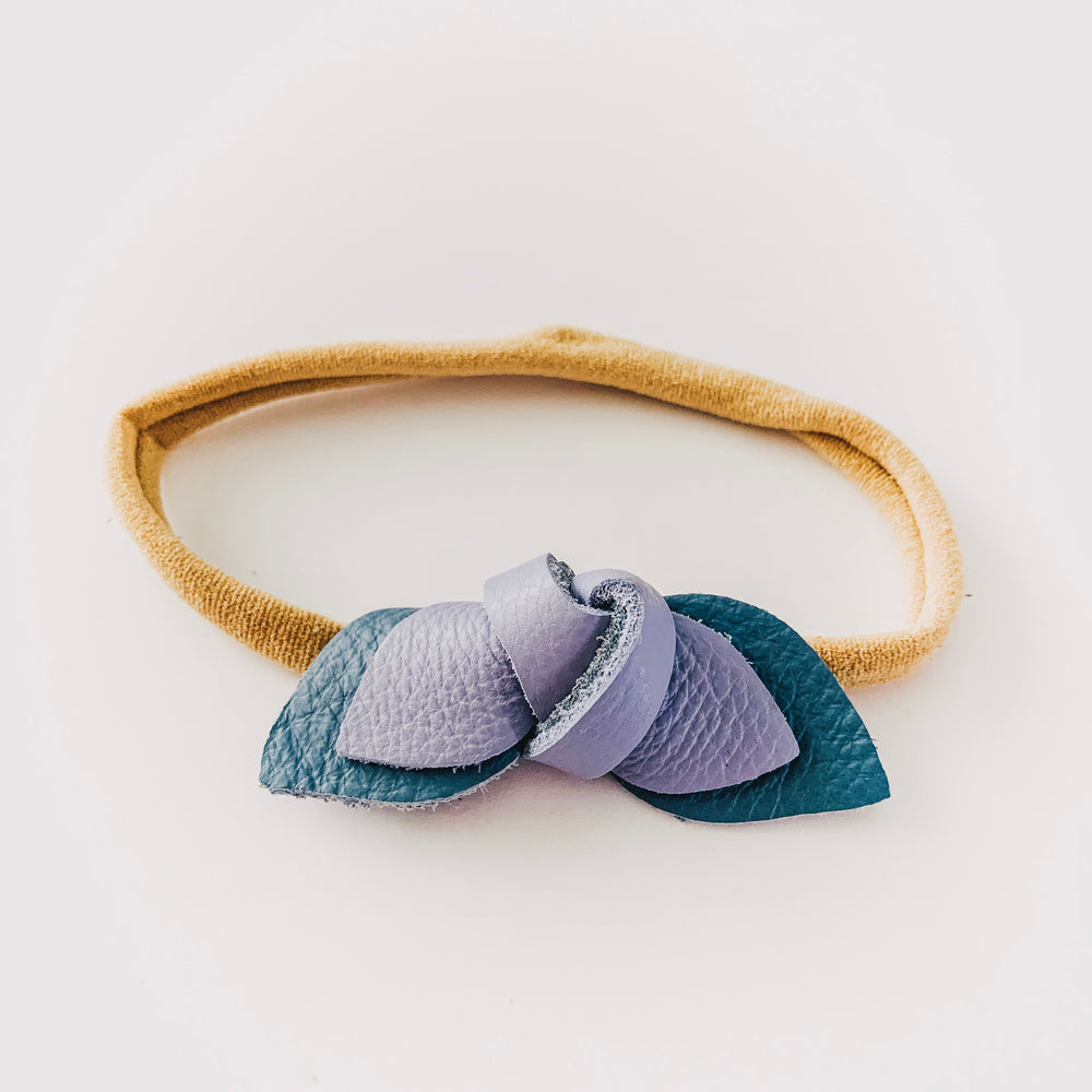 Leather Knot Headband // Ocean + Periwinkle