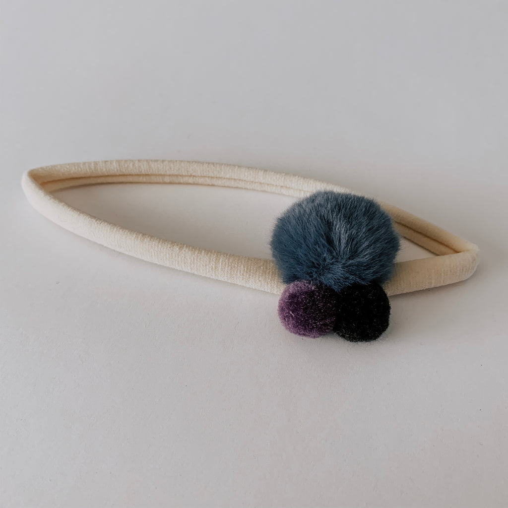 Pom Pom Headband // Blue, Purple & Black
