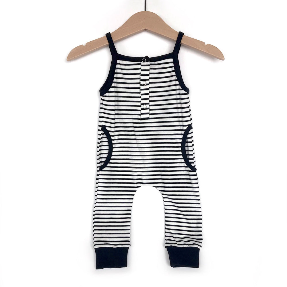Tank Stripe Romper // Black
