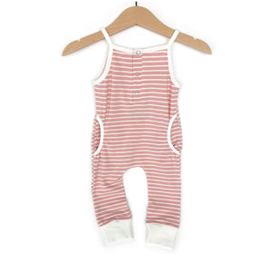 Load image into Gallery viewer, Tank Stripe Romper // Blush