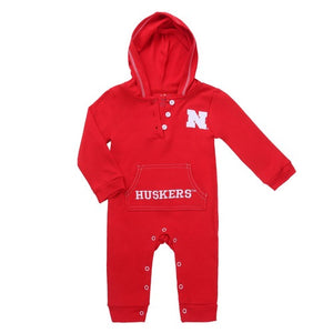 Load image into Gallery viewer, Hooded Romper // NEBRASKA CORNHUSKERS