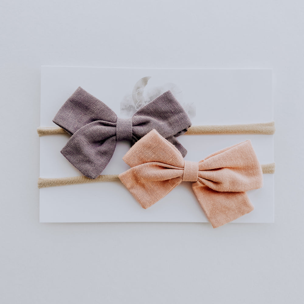2 Pack Linen Bow Headband // Blush + Lavender