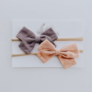Load image into Gallery viewer, 2 Pack Linen Bow Headband // Blush + Lavender