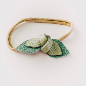 Leather Knot Headband // Eucalyptus + Succulent