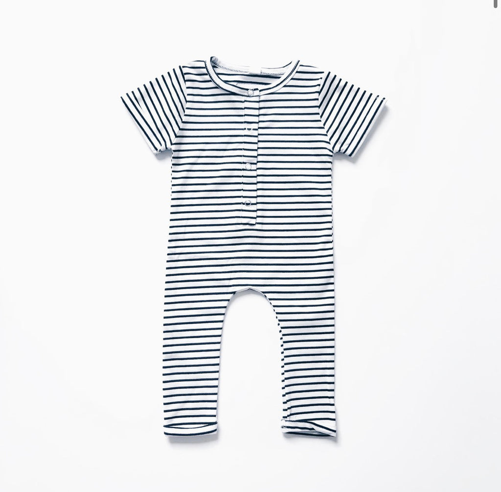 Short Sleeve Henley Romper // Black & White Stripe