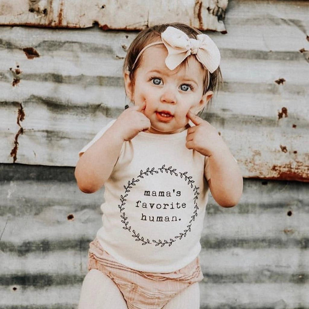 "Load image into Gallery viewer, ""Mama's Favorite Human"" Bodysuit // Cream"