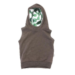 Load image into Gallery viewer, Sleeveless Terry Hoodie // Chocolate Cactus