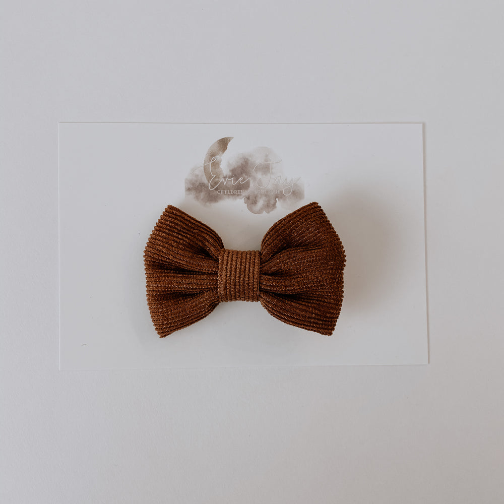 Load image into Gallery viewer, Corduroy Bow Clip // Toffee