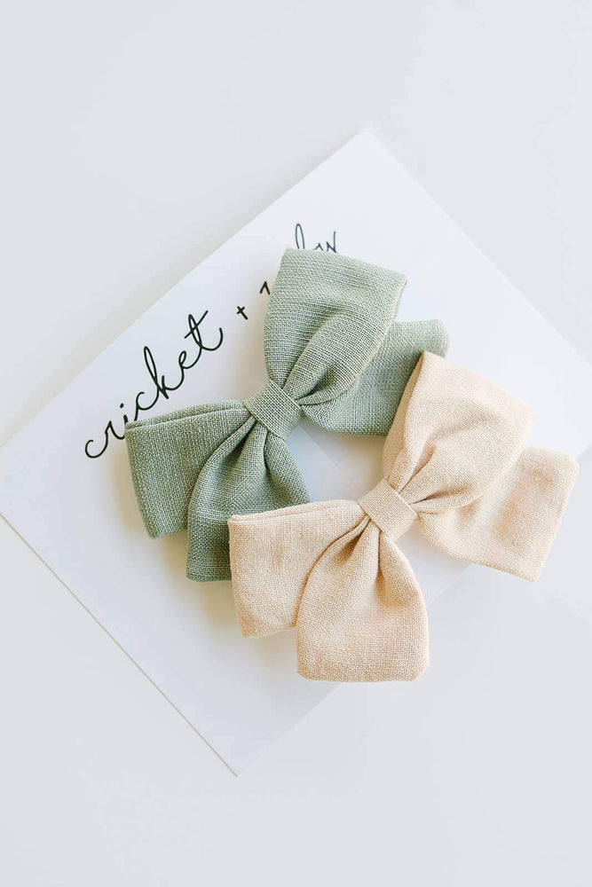 2 Pack Linen Bow Clips // Sage + Tan
