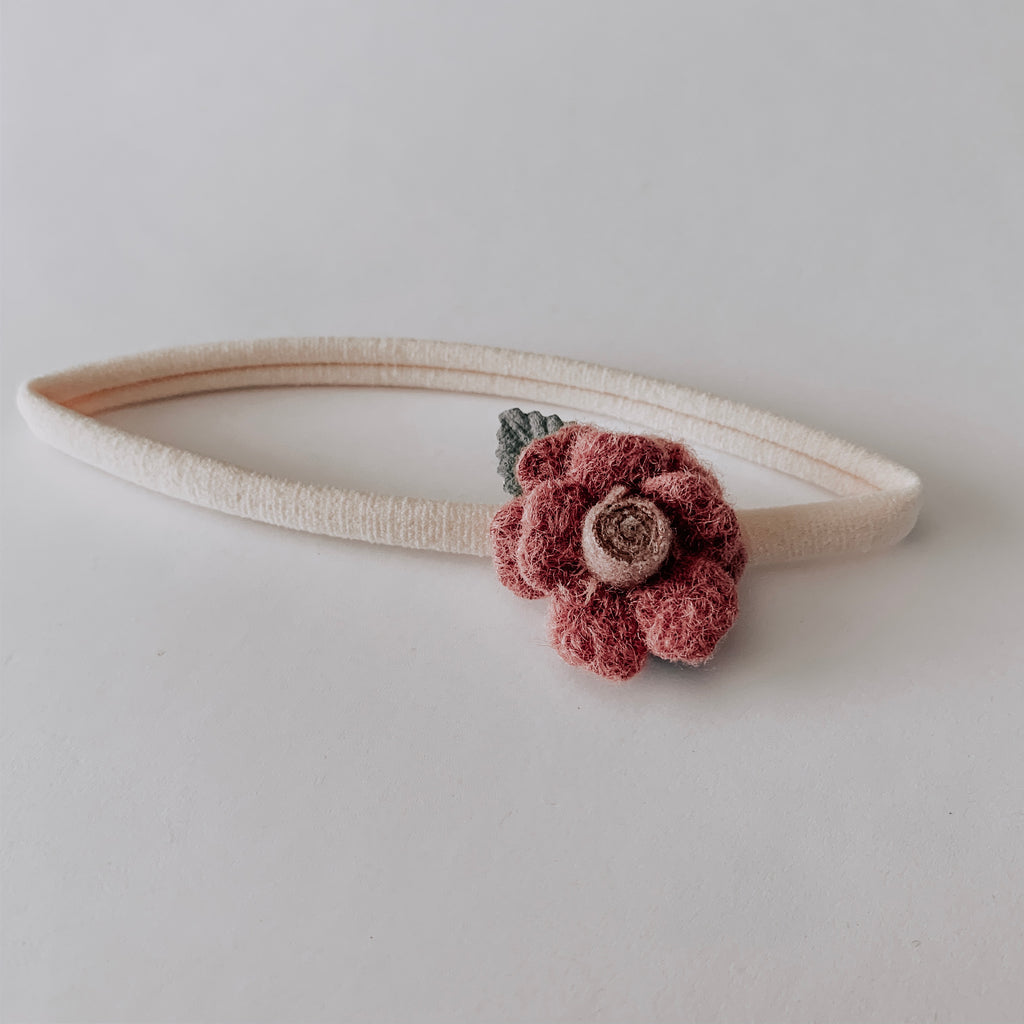 Wool Flower Headband // Rose & Grey