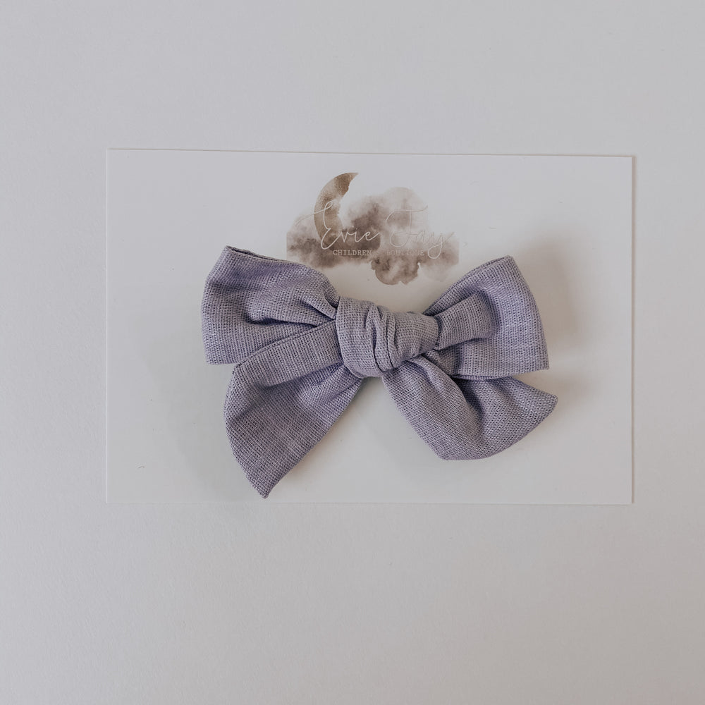 Chambray Bow Clip // Iris
